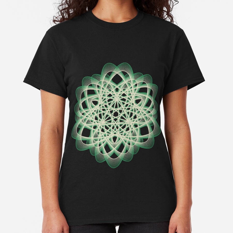 Abstract Sea Green Spiral Lines Classic T-Shirt