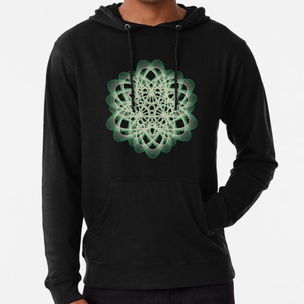 Abstract Sea Green Spiral Lines Lightweight Hoodie