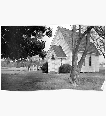 Little White Church in Black and White Poster