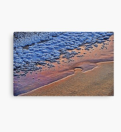 Abstract composition with ice and snow in the evening light Canvas Print