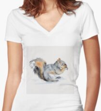 Squirrel's winter snacktime Women's Fitted V-Neck T-Shirt
