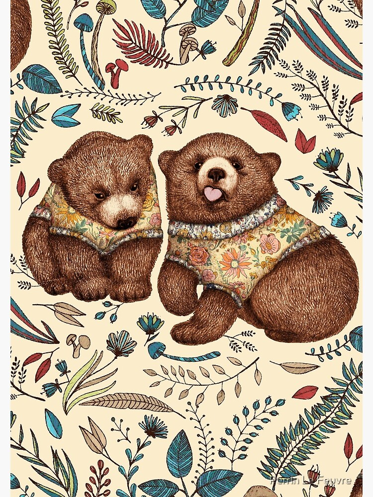 Whimsical Bear Pair with Fantasy Flora  by PerrinLeFeuvre