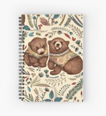 Whimsical Bear Pair with Fantasy Flora  Spiral Notebook