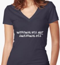 Werewolves NOT Swearwolves (NOW IN WHITE) Women's Fitted V-Neck T-Shirt