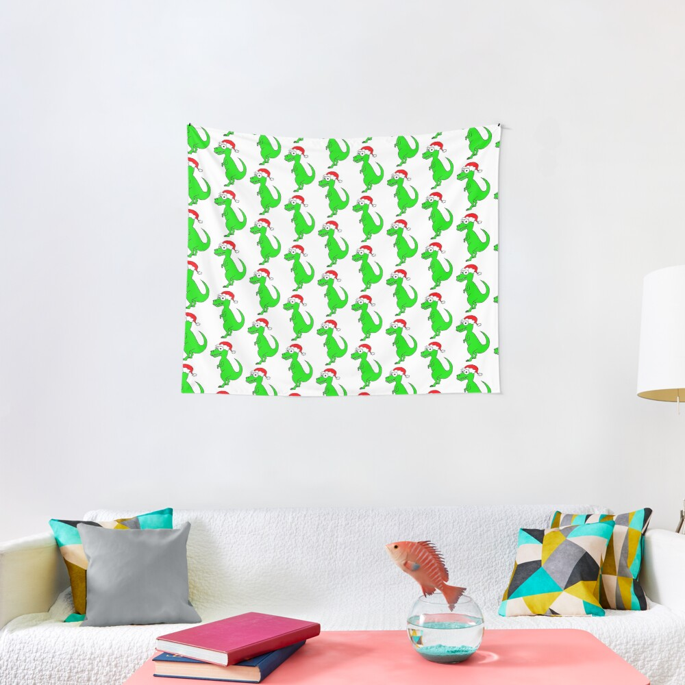 Cute Christmas T-Rex - on white Tapestry