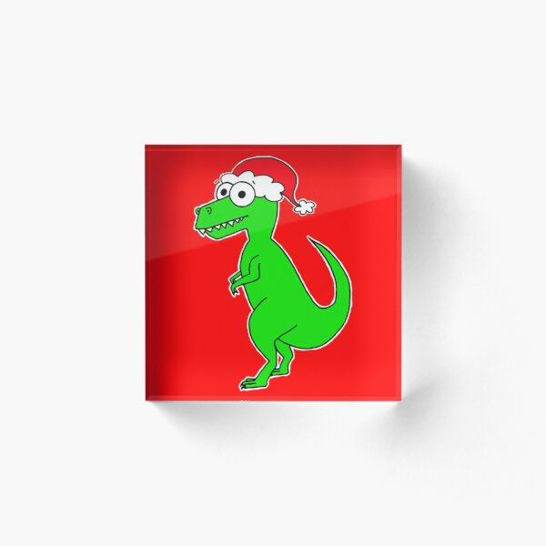 Cute Christmas T-Rex - on red Acrylic Block