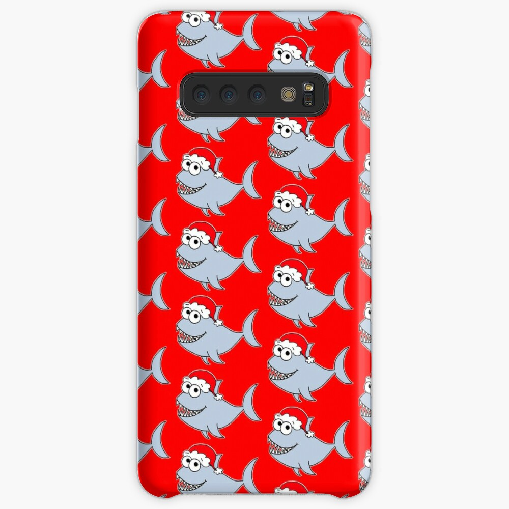 Cute Christmas Shark - on red Case & Skin for Samsung Galaxy