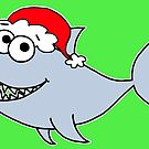 Copy of Cute Christmas Shark - on green by Adrienne Body
