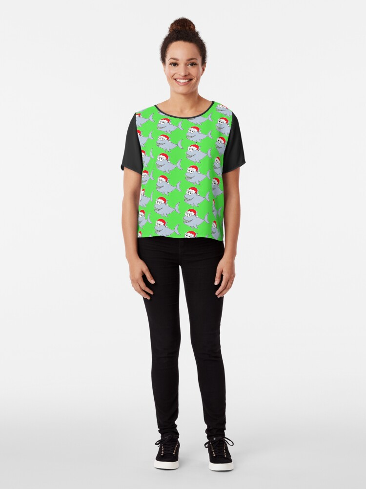 Alternate view of Copy of Cute Christmas Shark - on green Chiffon Top