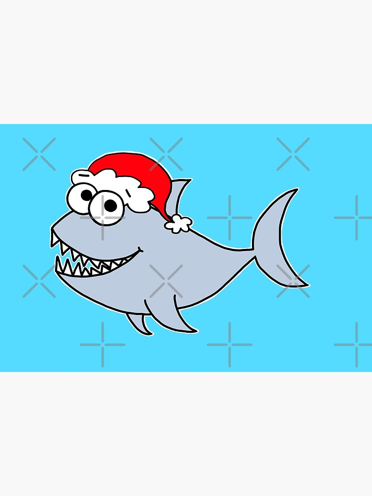 Copy of Copy of Cute Christmas Shark - on blue by AdrienneBody