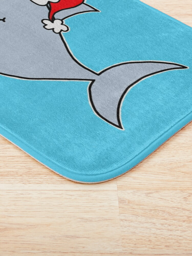 Alternate view of Copy of Copy of Cute Christmas Shark - on blue Bath Mat