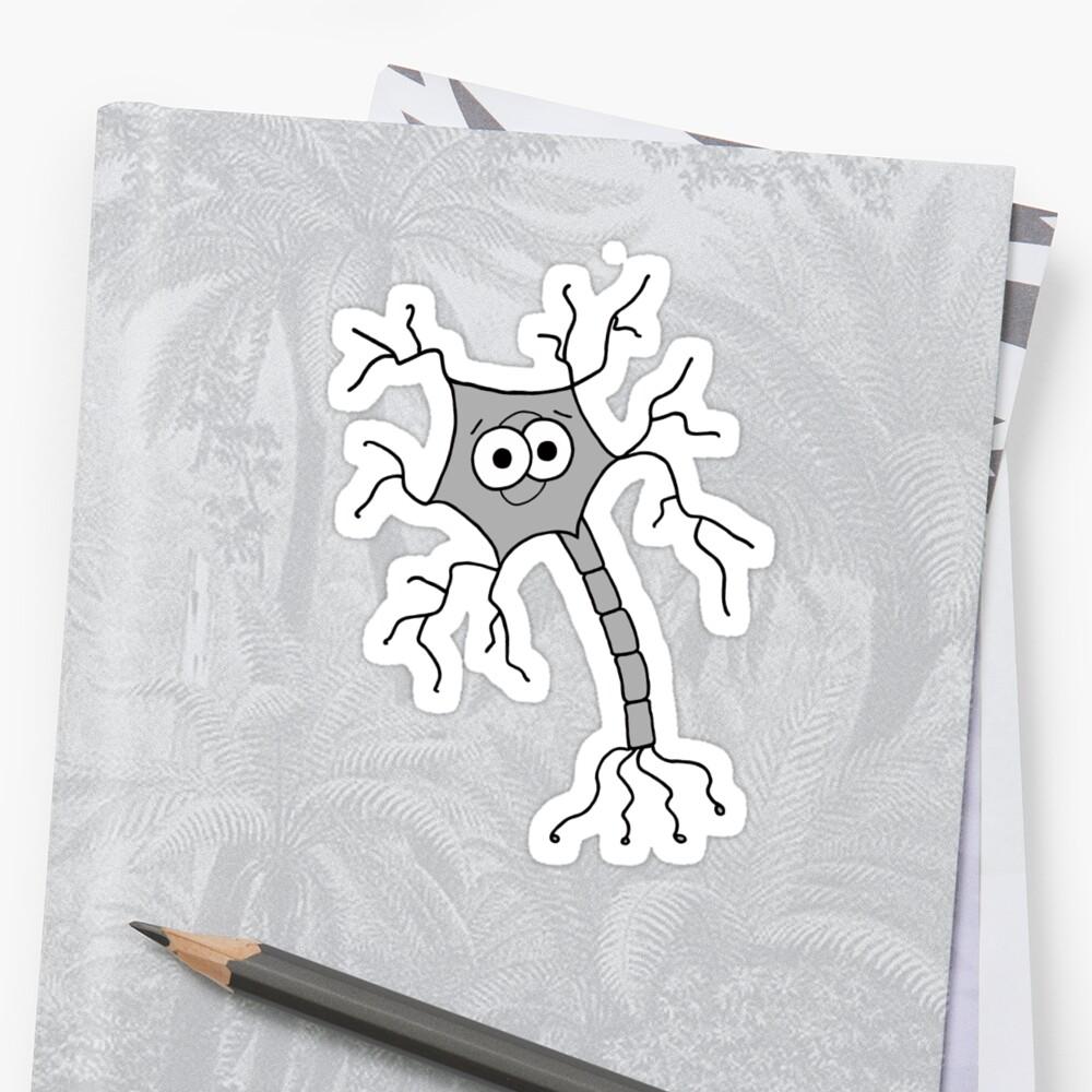 Cute Neuron - on white Sticker