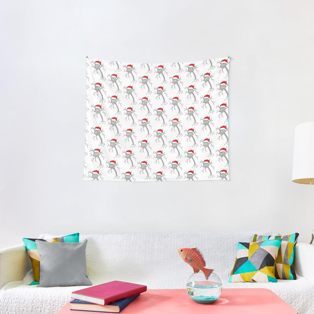 Christmas Neuron - on white Tapestry