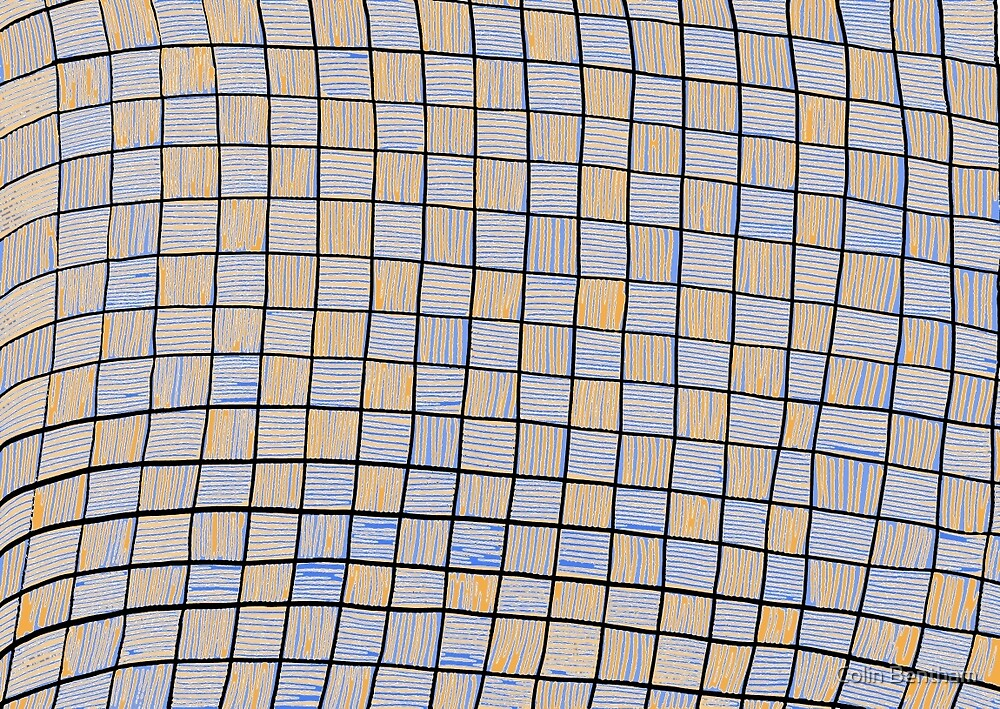 Wavy Rectangles Orange Blue Blue Orange White Black by Colin Bentham