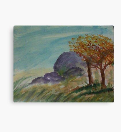 Boulders to climb on along path,,,watercolor Canvas Print
