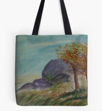 Boulders to climb on along path,,,watercolor Tote Bag