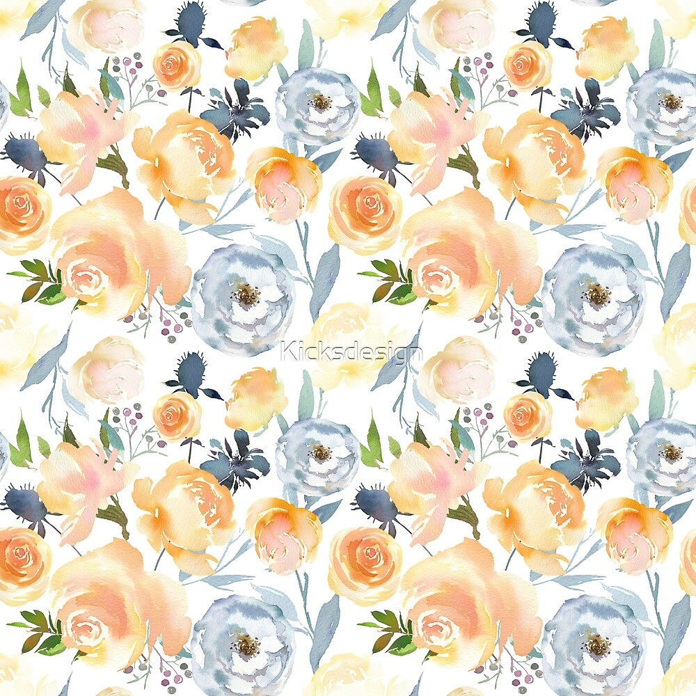 Orange blush pink teal blue watercolor flowers by Kicksdesign