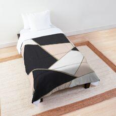 Charcoal Blush White Gold Geometric Glam #1 #geo #decor #art  Comforter