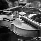 Violin and wine by Dave Hare