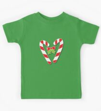 CANDY CANES with bow and cute holly Christmas Kids Tee