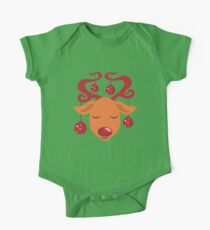 Cute red nosed reindeer with red nose One Piece - Short Sleeve