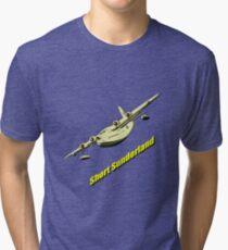 Short Sunderland Flying Boat WW2 Tri-blend T-Shirt