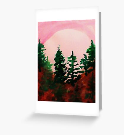 Sunrise Over the Pines, watercolor Greeting Card
