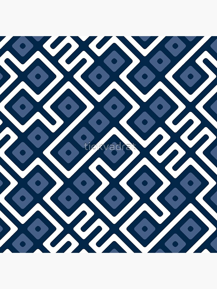 Maze Abstract Pattern - White / Navy by tiokvadrat