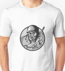 World War Two Soldier American Calling Radio Circle Etching T-Shirt