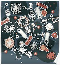 Eukaryote (dunkel + blau) Poster