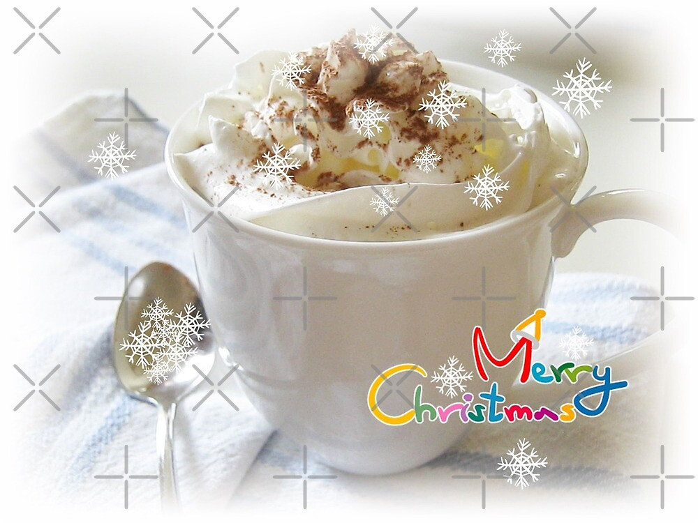 Merry Christmas - Hot Chocolate with Snowflakes by LeisureLane1