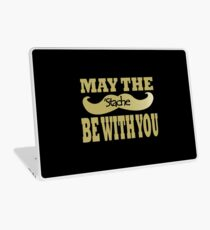Funny black mustache may the stache be with you geek funny nerd Laptop Skin