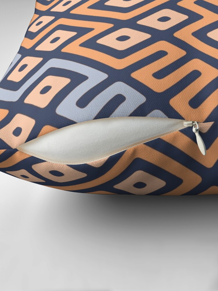 Alternate view of Maze Abstract Pattern - Cream / Grey Throw Pillow