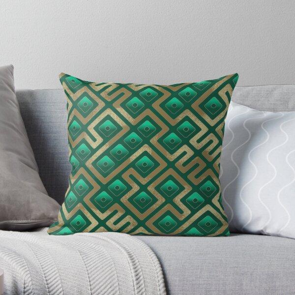 Maze Abstract Pattern - Green / Gold Throw Pillow