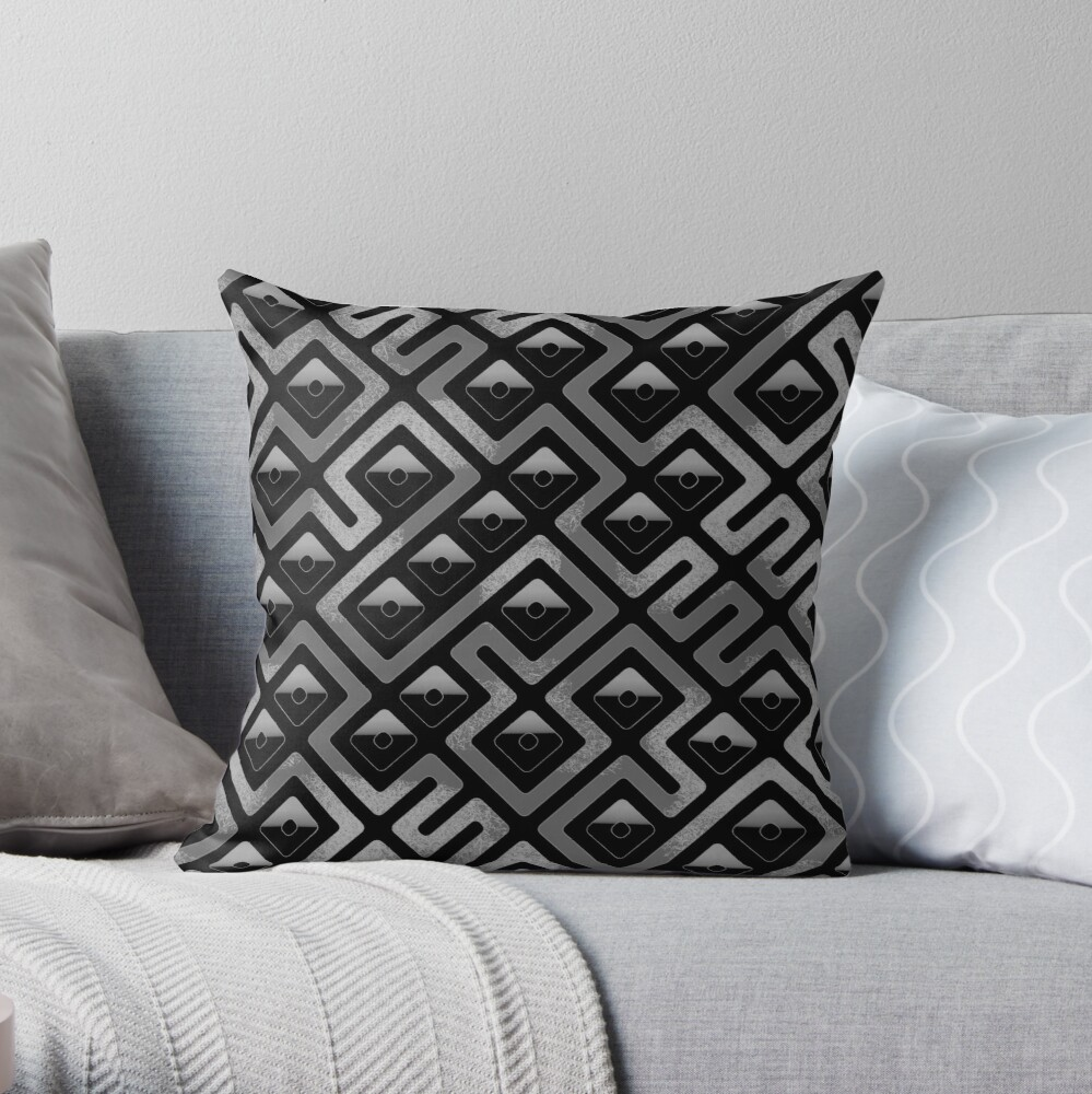 Maze Abstract Pattern - Black / Gray Throw Pillow