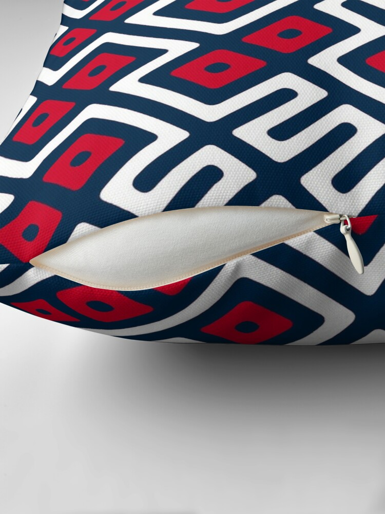 Alternate view of Maze Abstract Pattern - Blue / Red Throw Pillow