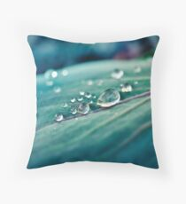 Macro Water Droplets - Nature Throw Pillow