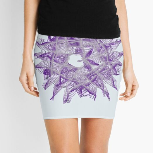 Abstract Violet Spiral Lines Mini Skirt