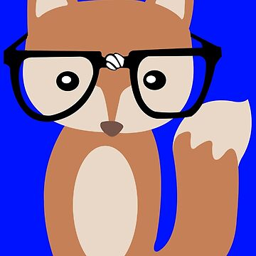 Hipster baby fox w glasses geek funny nerd by danur55