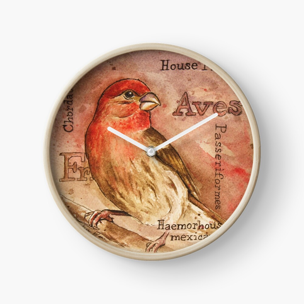 House Finch Watercolor Painting Clock