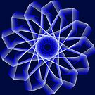 Blue Lines Abstract Geometric Flower by Shapes-Mania