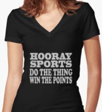 Hooray sports win points geek funny nerd Women's Fitted V-Neck T-Shirt