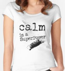 Calm is a superpower typography text art quote by Word Fandom - wordfandom Fitted Scoop T-Shirt