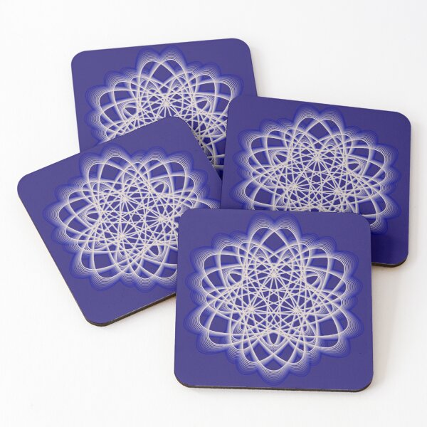 Abstract Dark Blue Violet Atomic Swaps Coasters (Set of 4)