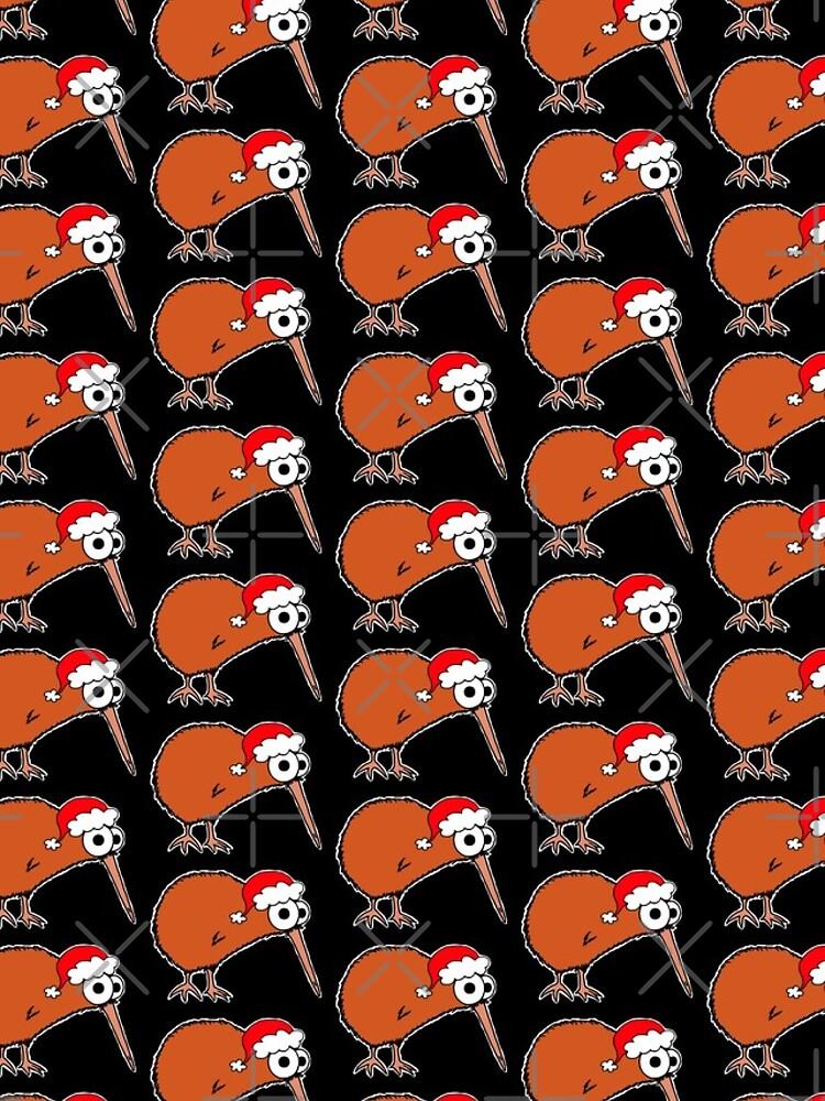 Christmas Kiwi - on black by AdrienneBody