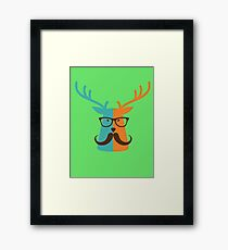 Cute Deer Hipster Animal With Glasses Mustache Framed Print
