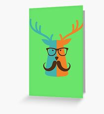 Cute Deer Hipster Animal With Glasses Mustache Greeting Card