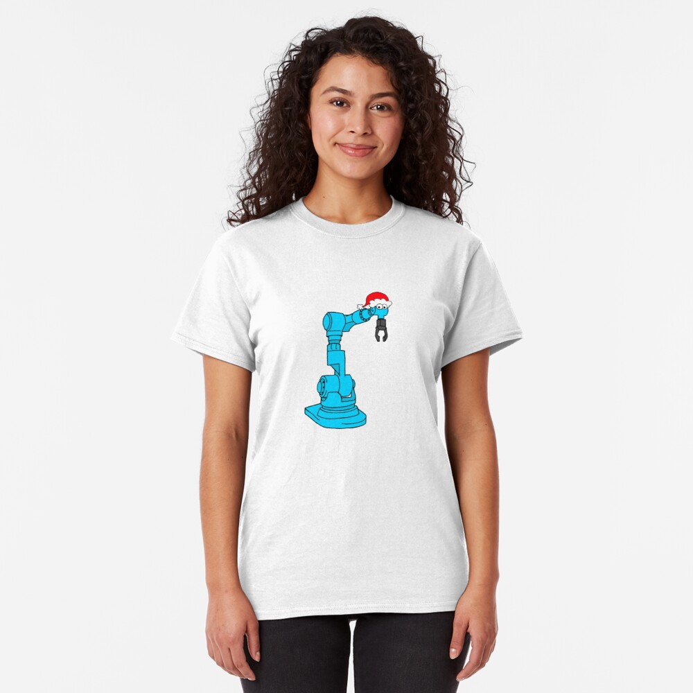 Christmas Robot - on white Classic T-Shirt