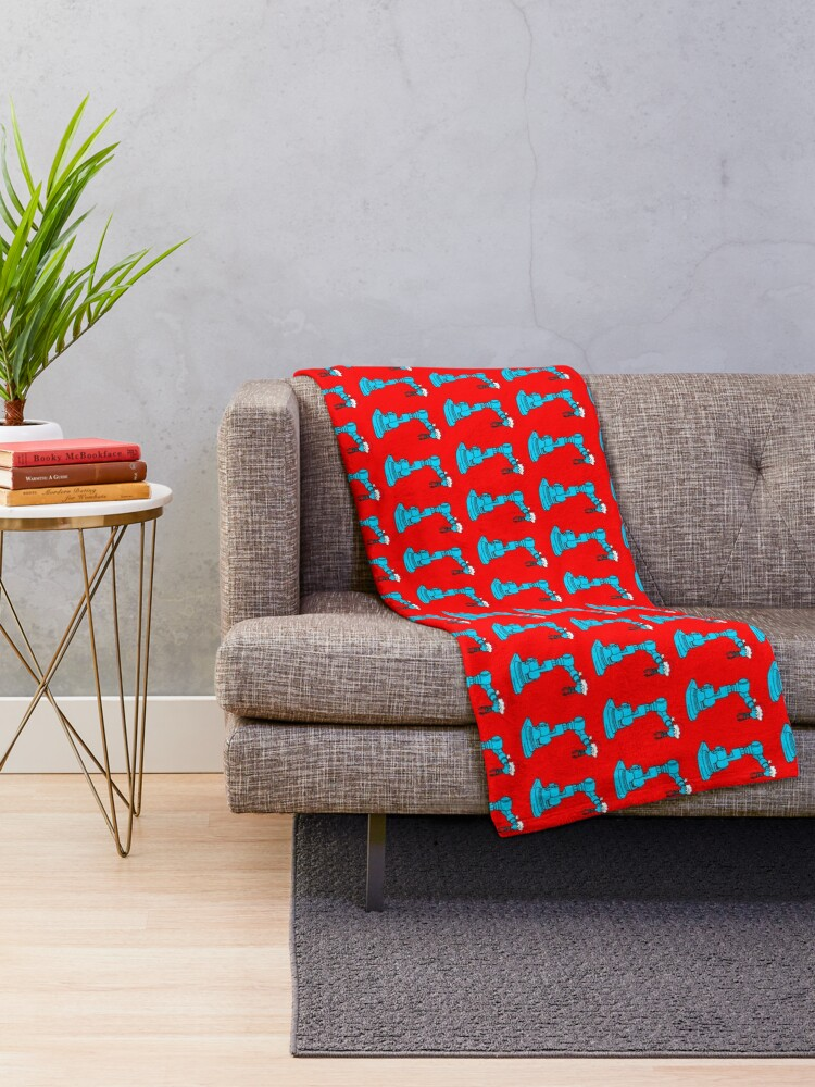 Alternate view of Christmas Robot - on red Throw Blanket