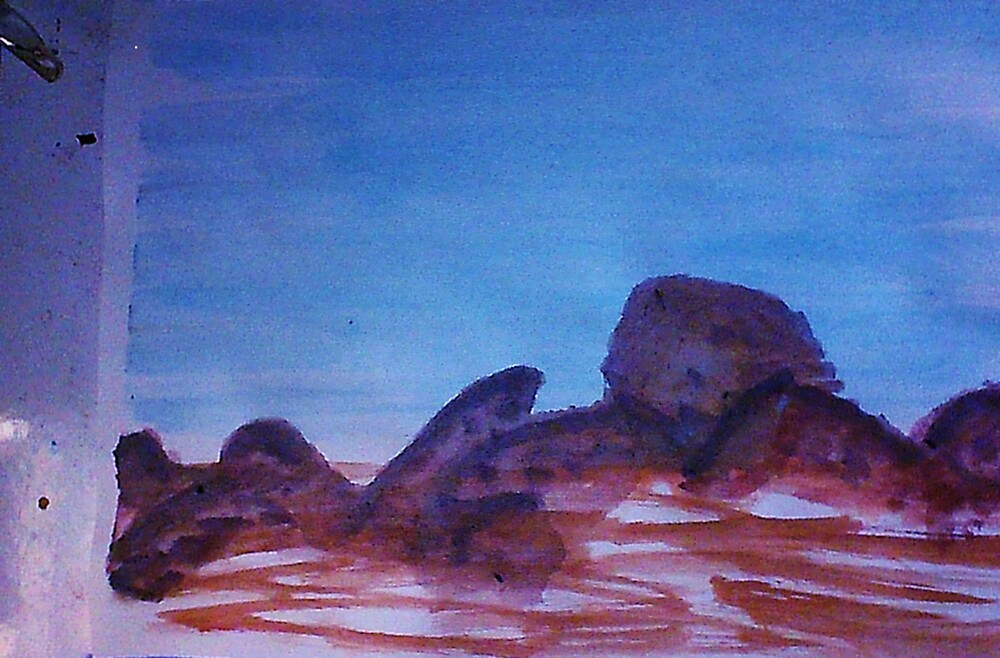 Big Boulders and Rocks  to  Cimb, watercolor by Anna  Lewis, blind artist